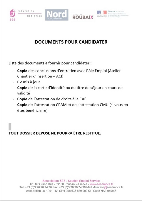 Liste docs candidature 2